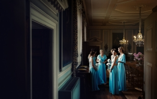 Bridesmaids waiting for the bride at Doddington Hall