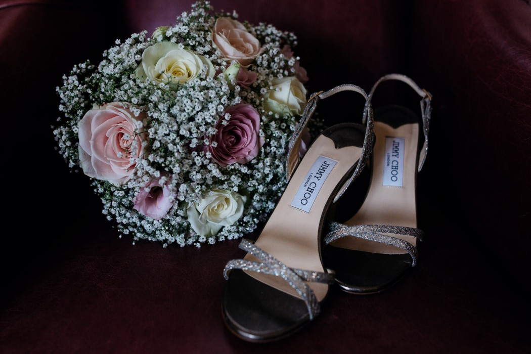 jimmy choo shoes and wedding bouquet