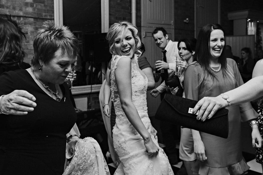 bride getting jiggly on the dance floor