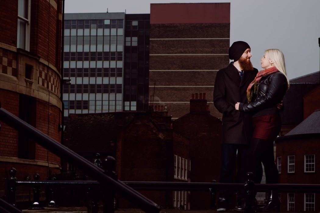 couple on the rooftops in Nottingham city centre