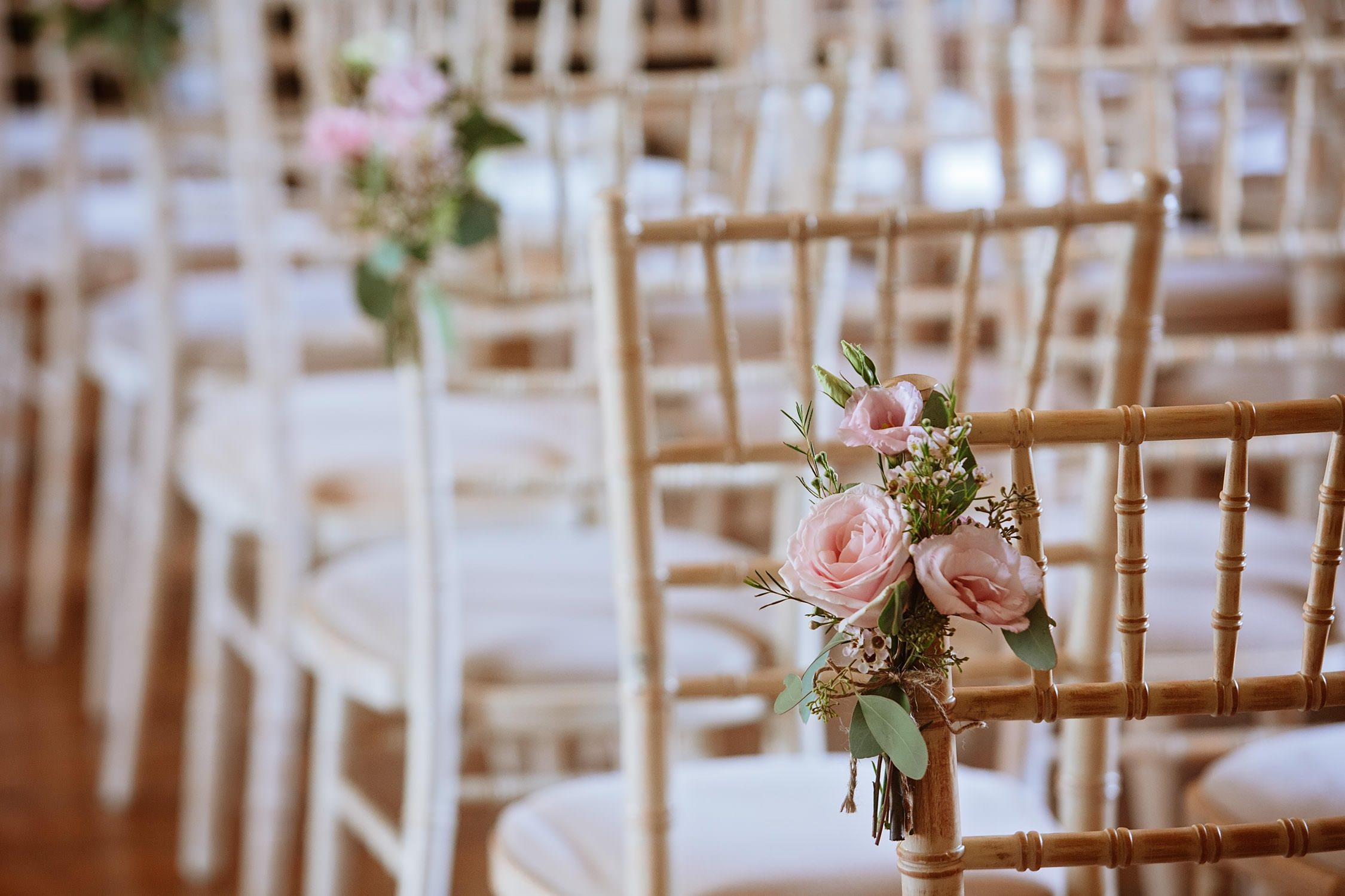 wedding roses on the chair