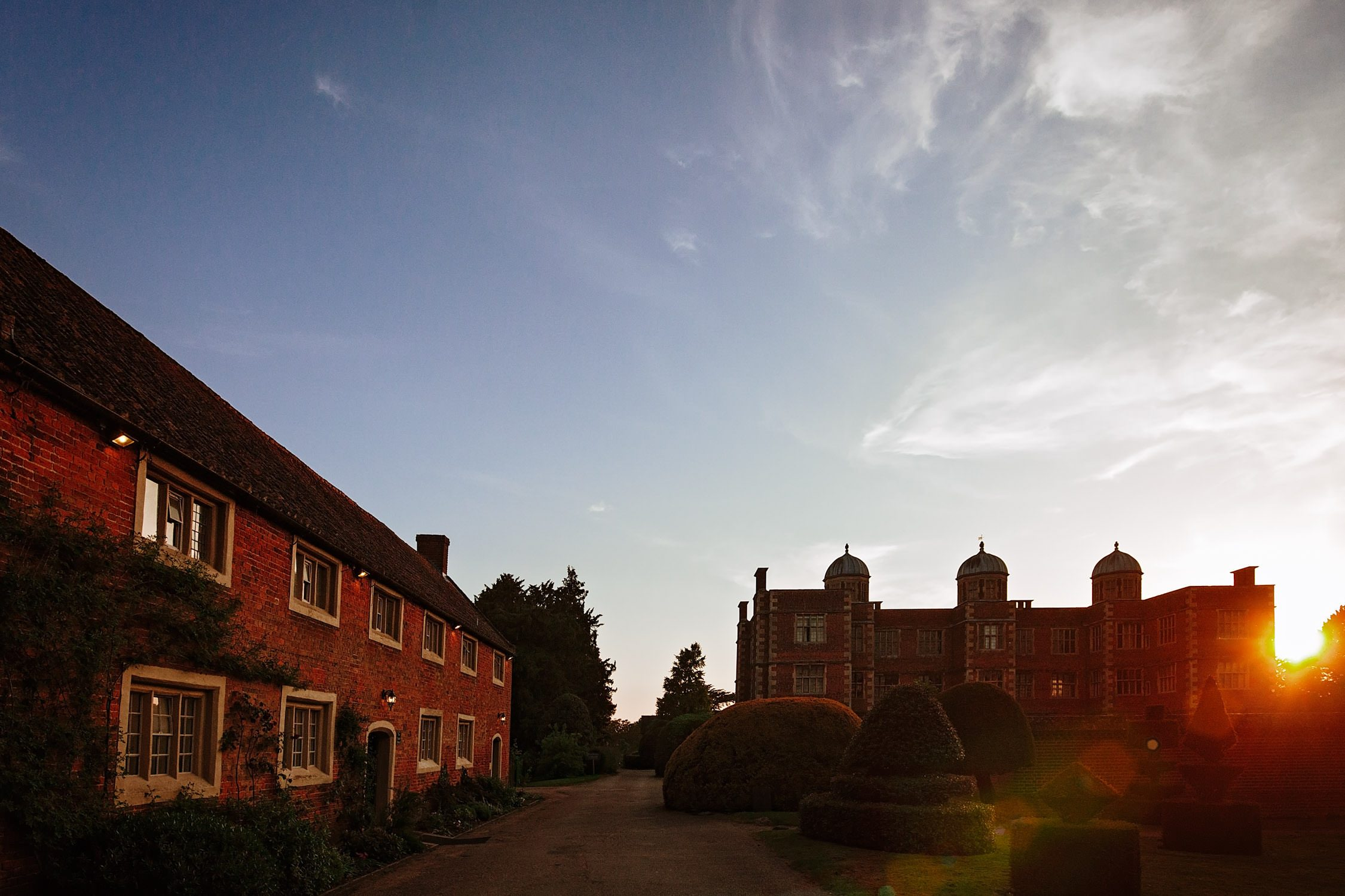 doddington hall at sunset