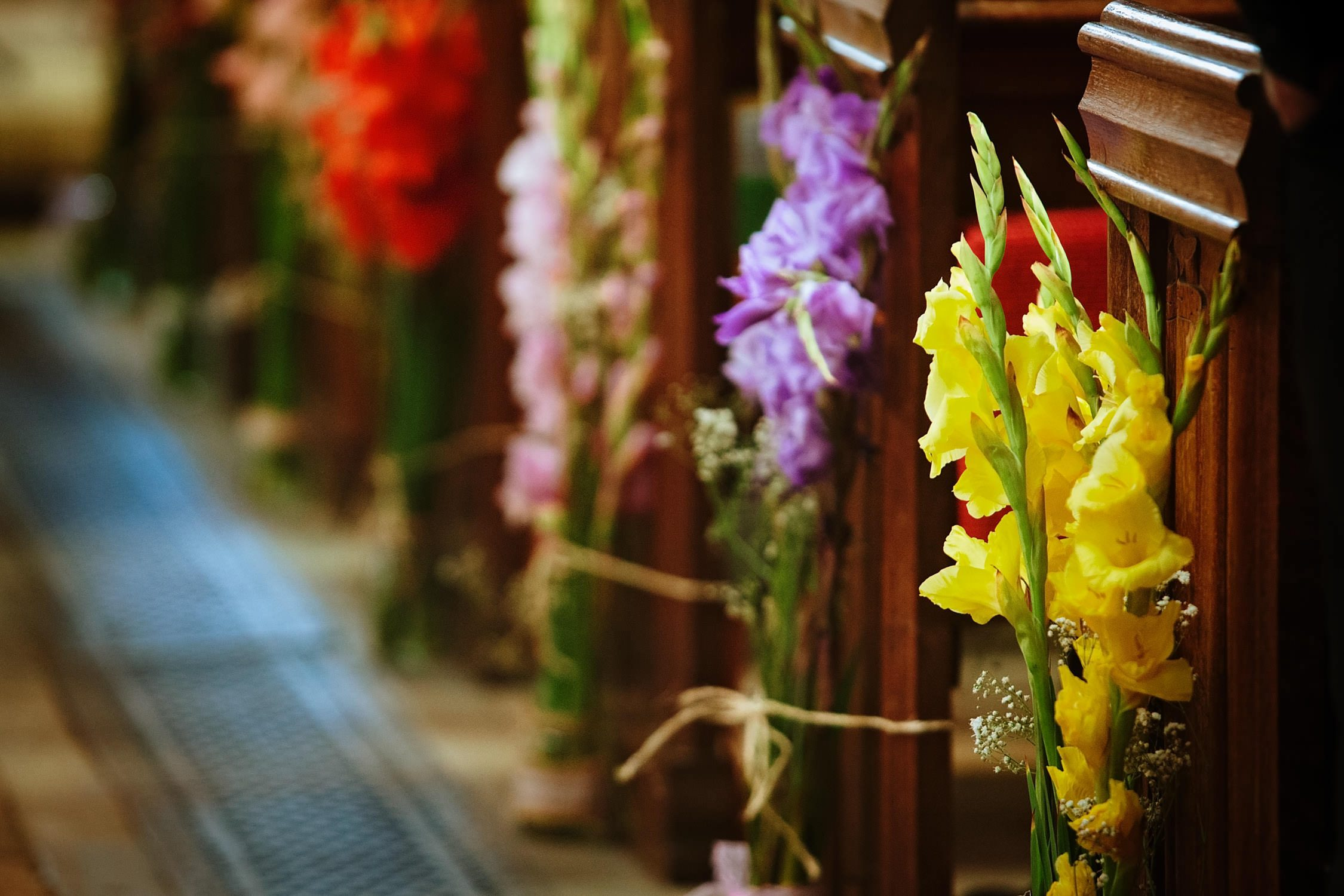 beautiful flowers down the aisle